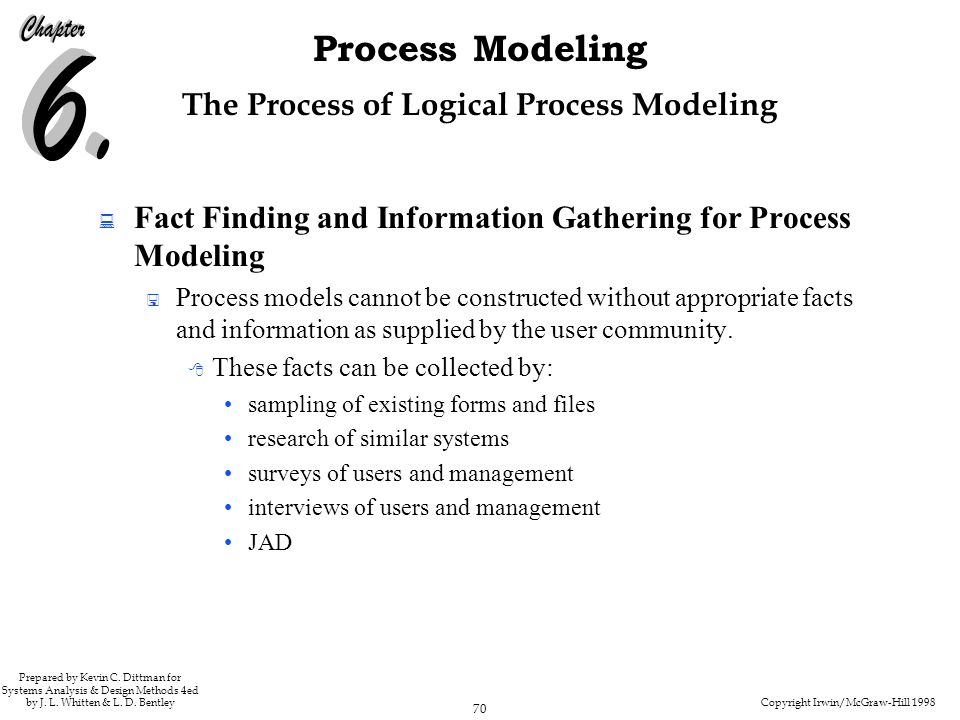Copyright Irwin/McGraw-Hill 1998 70 Process Modeling Prepared by Kevin C. Dittman for Systems Analysis & Design Methods 4ed by J. L. Whitten & L. D. B
