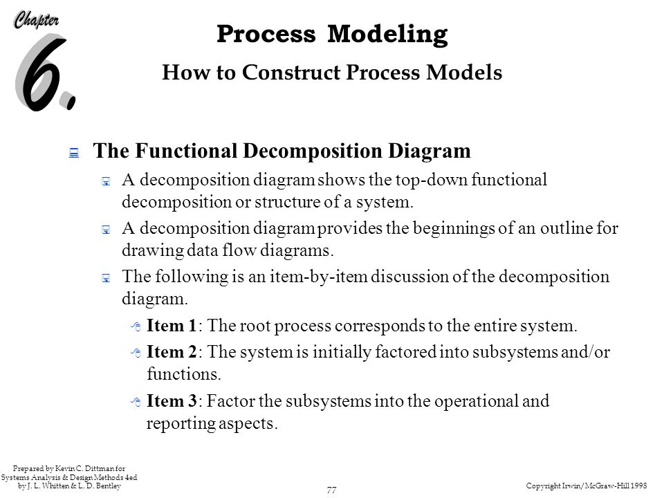 Copyright Irwin/McGraw-Hill 1998 77 Process Modeling Prepared by Kevin C. Dittman for Systems Analysis & Design Methods 4ed by J. L. Whitten & L. D. B