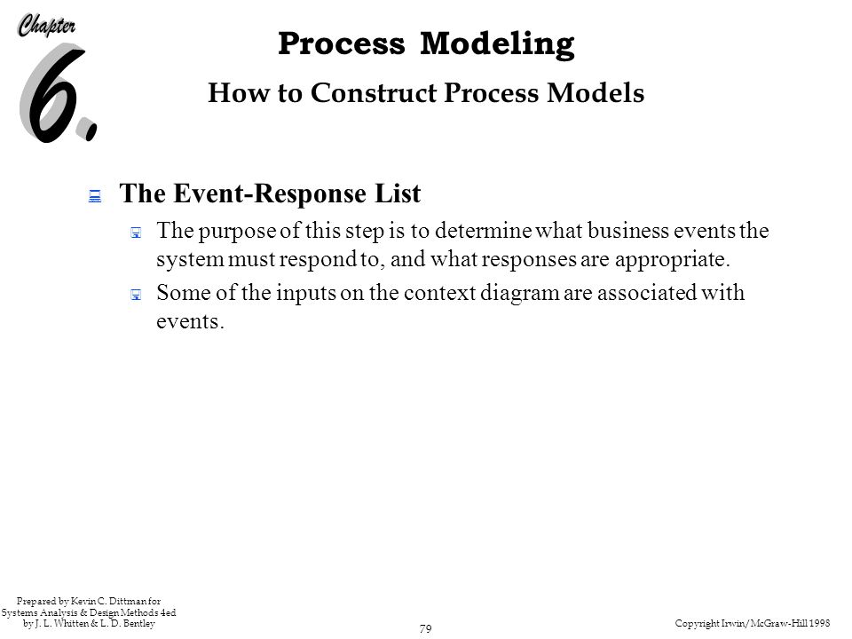 Copyright Irwin/McGraw-Hill 1998 79 Process Modeling Prepared by Kevin C. Dittman for Systems Analysis & Design Methods 4ed by J. L. Whitten & L. D. B