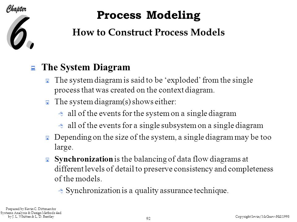 Copyright Irwin/McGraw-Hill 1998 92 Process Modeling Prepared by Kevin C. Dittman for Systems Analysis & Design Methods 4ed by J. L. Whitten & L. D. B