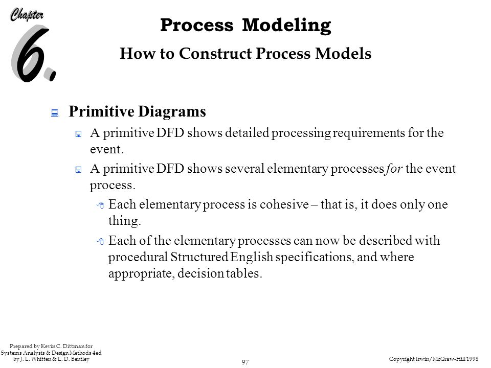Copyright Irwin/McGraw-Hill 1998 97 Process Modeling Prepared by Kevin C. Dittman for Systems Analysis & Design Methods 4ed by J. L. Whitten & L. D. B