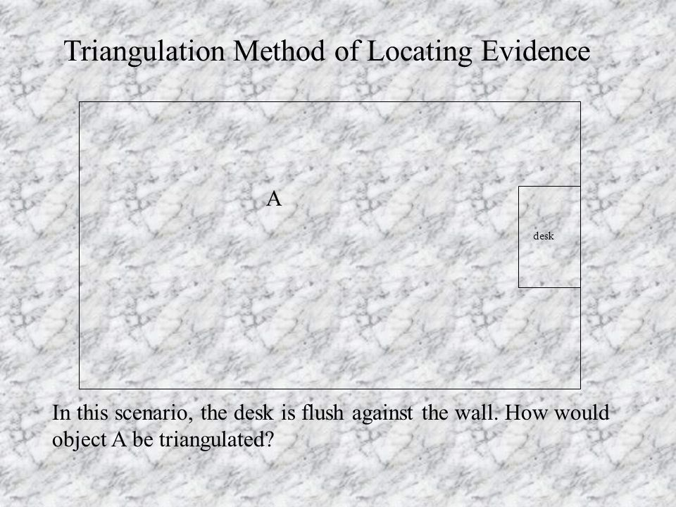 A Triangulation Method of Locating Evidence In this scenario, the desk is flush against the wall.