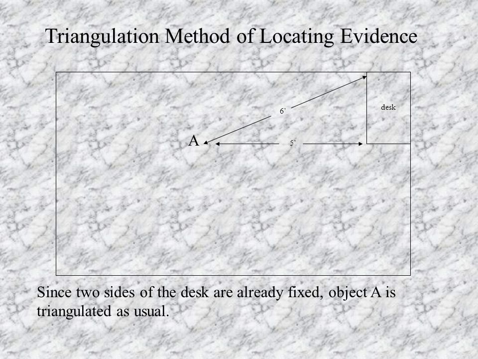 A Triangulation Method of Locating Evidence Since two sides of the desk are already fixed, object A is triangulated as usual.