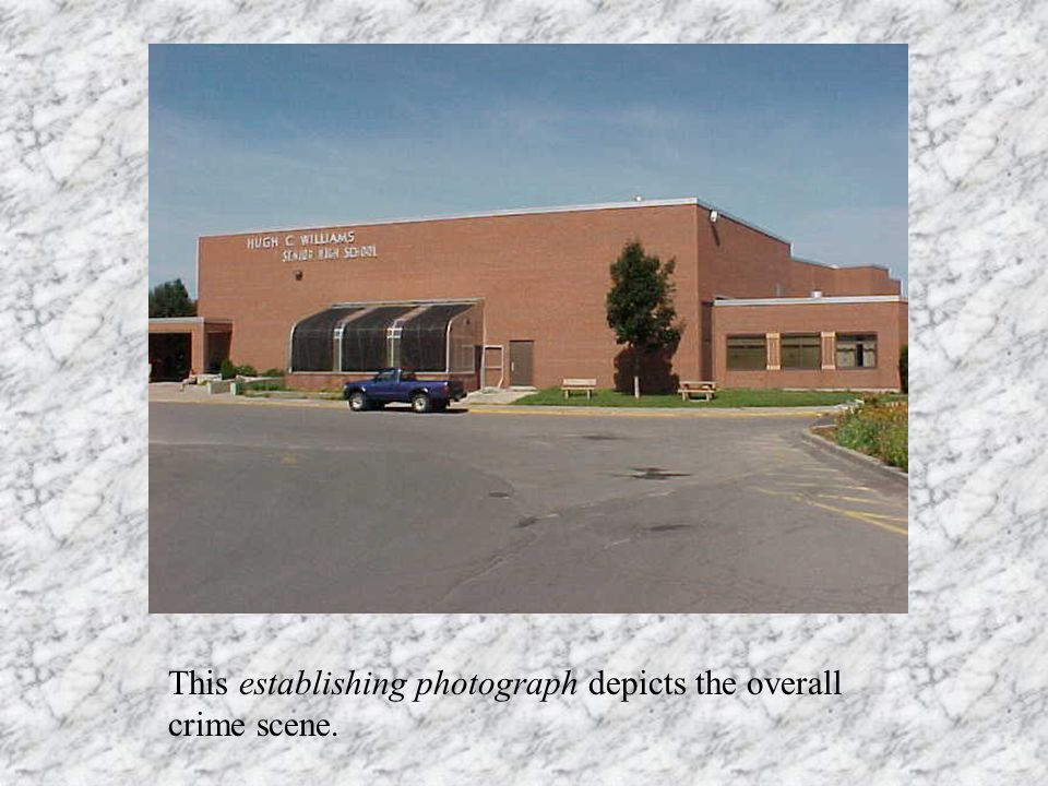 This establishing photograph depicts the overall crime scene.