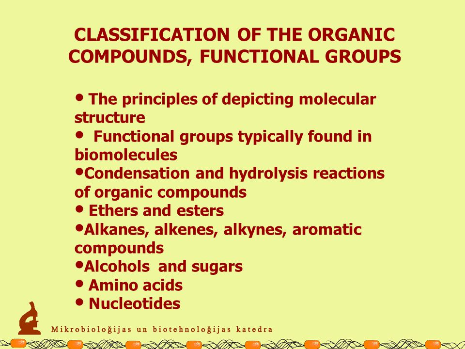 CLASSIFICATION OF THE ORGANIC COMPOUNDS, FUNCTIONAL GROUPS The principles of depicting molecular structure Functional groups typically found in biomolecules Condensation and hydrolysis reactions of organic compounds Ethers and esters Alkanes, alkenes, alkynes, aromatic compounds Alcohols and sugars Amino acids Nucleotides