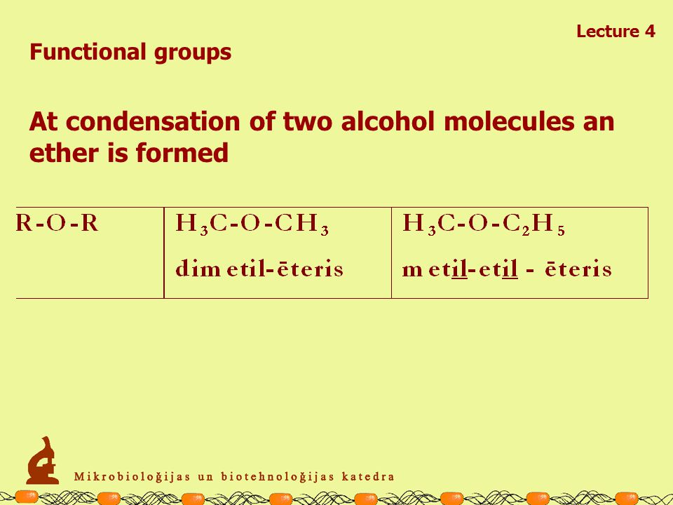 Lecture 4 Functional groups Functional groups may be involved in chemical reactions condensation (associatioun which is accompanied by release of water) hydrolysis (dissocciation by addition of water) R -OH + OH-RR-O-R +H 2 O R -OH + OH-R