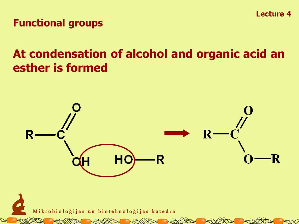 Lecture 4 Functional groups At condensation of two alcohol molecules an ether is formed
