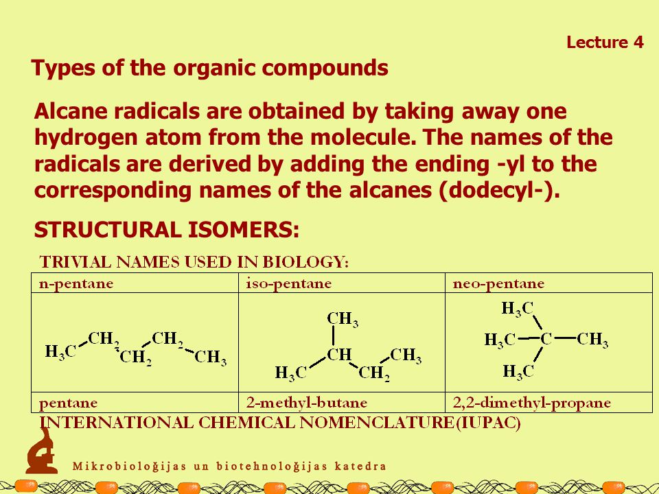 Types of the organic compounds Lecture 4 Alcans– the simplest organic molecules, which are formed only by H and C atoms.