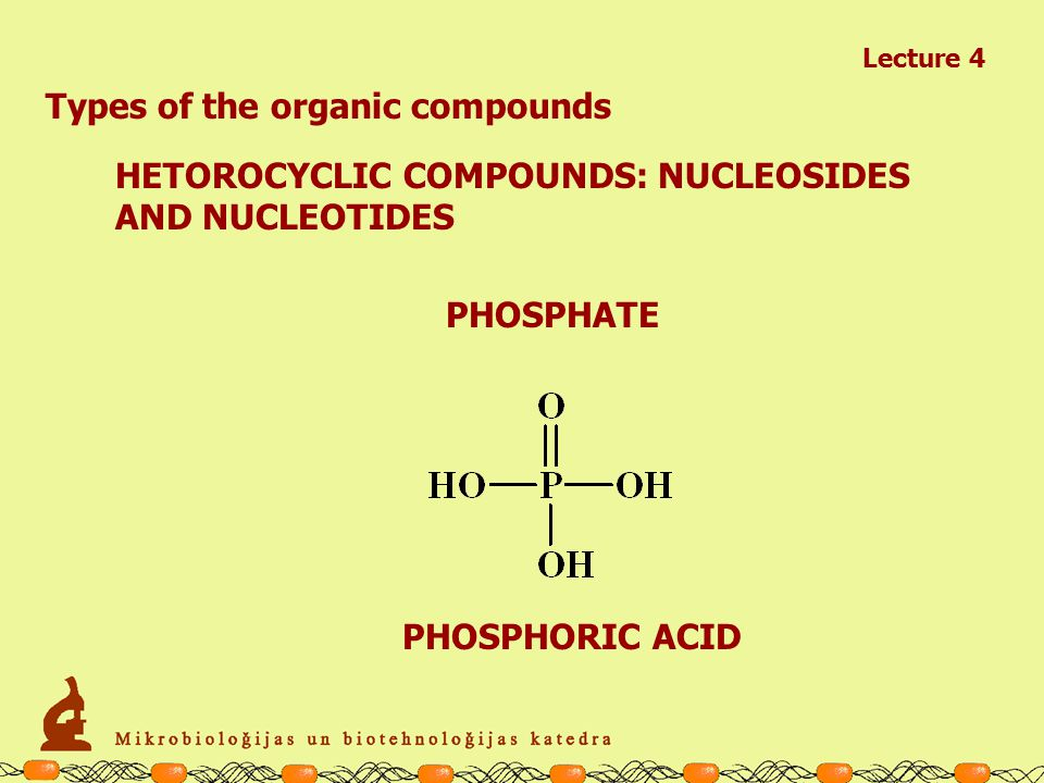 Lecture 4 Types of the organic compounds HETOROCYCLIC COMPOUNDS: NUCLEOSIDES AND NUCLEOTIDES SUGARS DeoxyriboseRibose