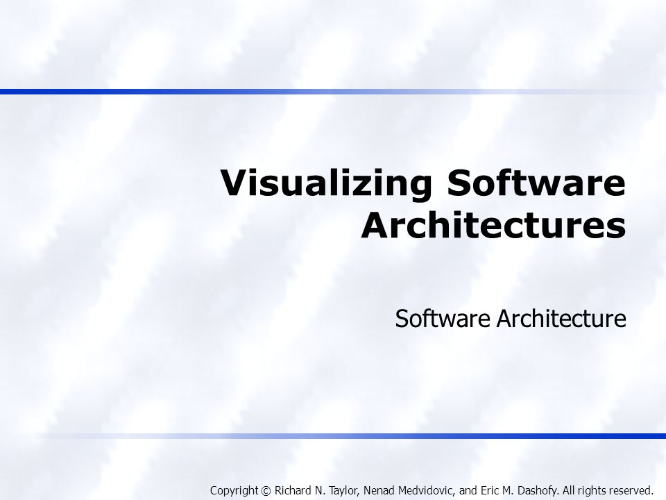 Foundations, Theory, and Practice Software Architecture 12 Textual Visualizations (cont'd) <types:archStructure xsi:type= types:ArchStructure types:id= ClientArch > Client Architecture <types:component xsi:type= types:Component types:id= WebBrowser > Web Browser <types:interface xsi:type= types:Interface types:id= WebBrowserInterface > Web Browser Interface inout <types:archStructure xsi:type= types:ArchStructure types:id= ClientArch > Client Architecture <types:component xsi:type= types:Component types:id= WebBrowser > Web Browser <types:interface xsi:type= types:Interface types:id= WebBrowserInterface > Web Browser Interface inout xArch{ archStructure{ id = ClientArch description = Client Architecture component{ id = WebBrowser description = Web Browser interface{ id = WebBrowserInterface description = Web Browser Interface direction = inout } xArch{ archStructure{ id = ClientArch description = Client Architecture component{ id = WebBrowser description = Web Browser interface{ id = WebBrowserInterface description = Web Browser Interface direction = inout } XML visualization Compact visualization Software Architecture: Foundations, Theory, and Practice; Richard N.
