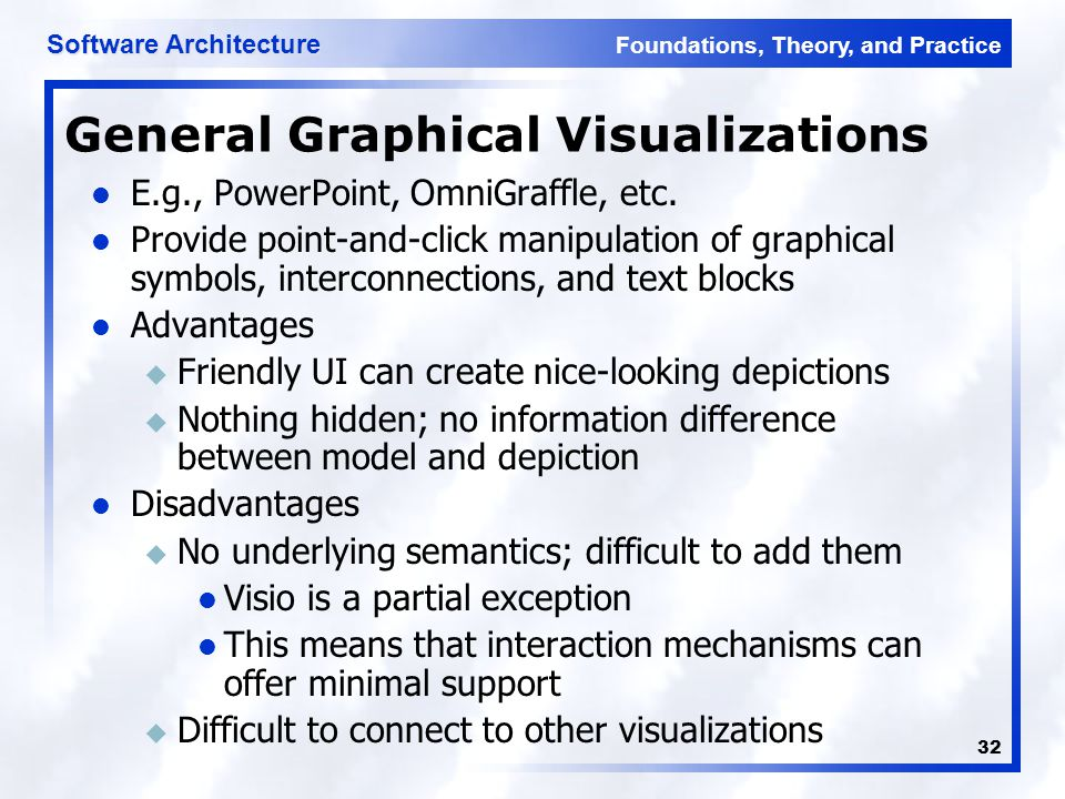 Foundations, Theory, and Practice Software Architecture 32 General Graphical Visualizations E.g., PowerPoint, OmniGraffle, etc.