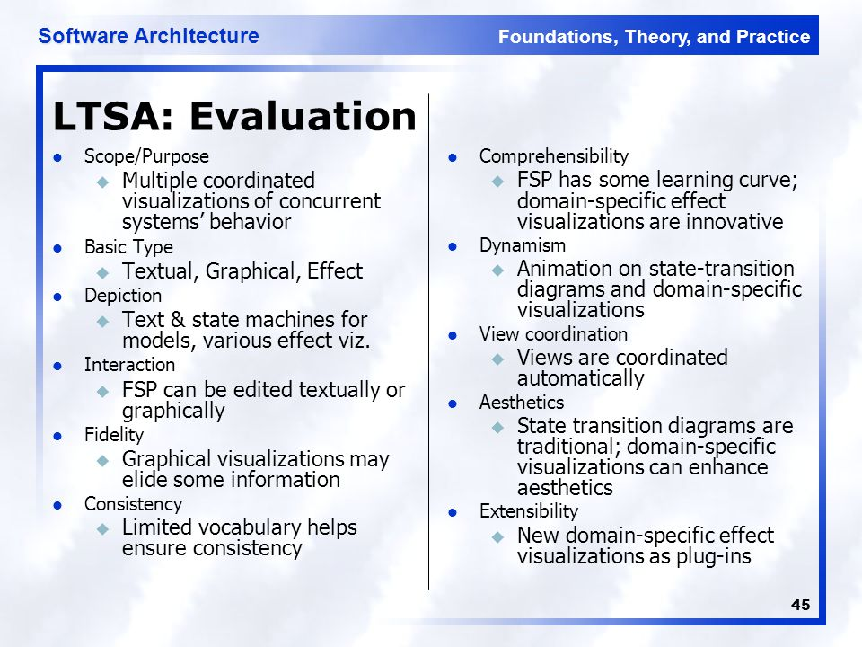 Foundations, Theory, and Practice Software Architecture 45 LTSA: Evaluation Scope/Purpose u Multiple coordinated visualizations of concurrent systems' behavior Basic Type u Textual, Graphical, Effect Depiction u Text & state machines for models, various effect viz.