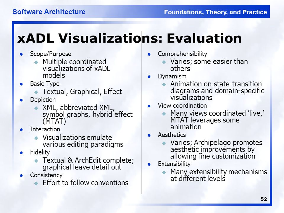 Foundations, Theory, and Practice Software Architecture 52 xADL Visualizations: Evaluation Scope/Purpose u Multiple coordinated visualizations of xADL models Basic Type u Textual, Graphical, Effect Depiction u XML, abbreviated XML, symbol graphs, hybrid effect (MTAT) Interaction u Visualizations emulate various editing paradigms Fidelity u Textual & ArchEdit complete; graphical leave detail out Consistency u Effort to follow conventions Comprehensibility u Varies; some easier than others Dynamism u Animation on state-transition diagrams and domain-specific visualizations View coordination u Many views coordinated 'live,' MTAT leverages some animation Aesthetics u Varies; Archipelago promotes aesthetic improvements by allowing fine customization Extensibility u Many extensibility mechanisms at different levels