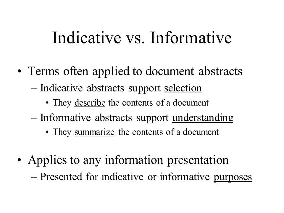 Indicative vs.