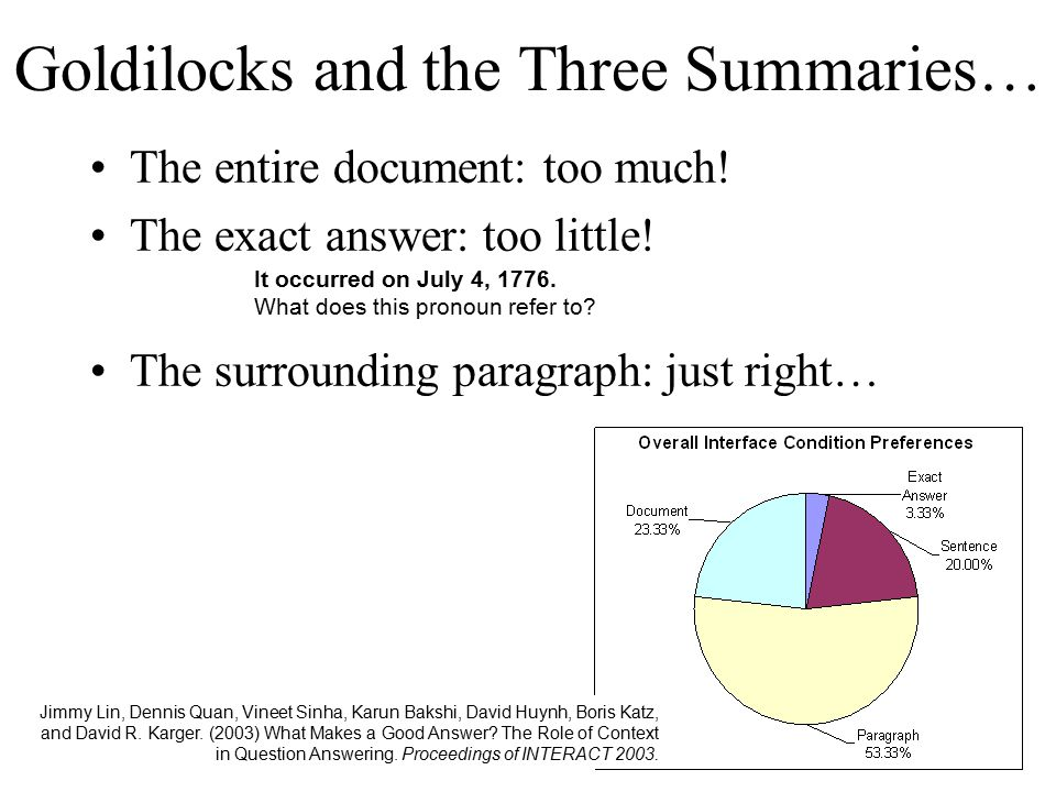 Goldilocks and the Three Summaries… The entire document: too much.