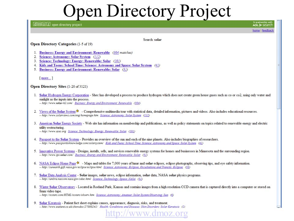 Open Directory Project http://www.dmoz.org