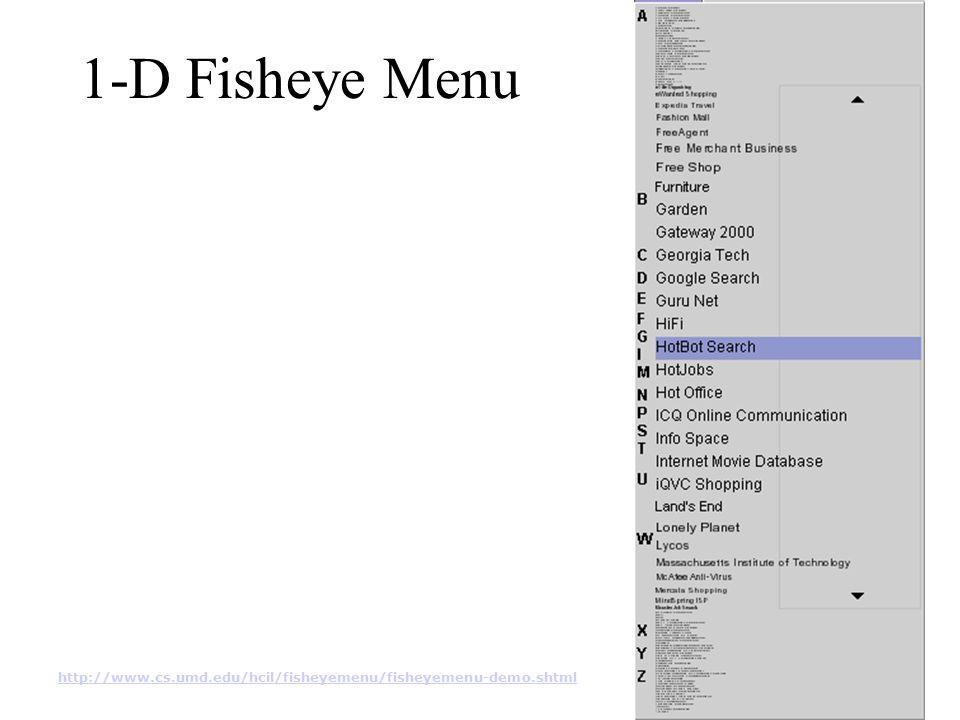 1-D Fisheye Menu http://www.cs.umd.edu/hcil/fisheyemenu/fisheyemenu-demo.shtml