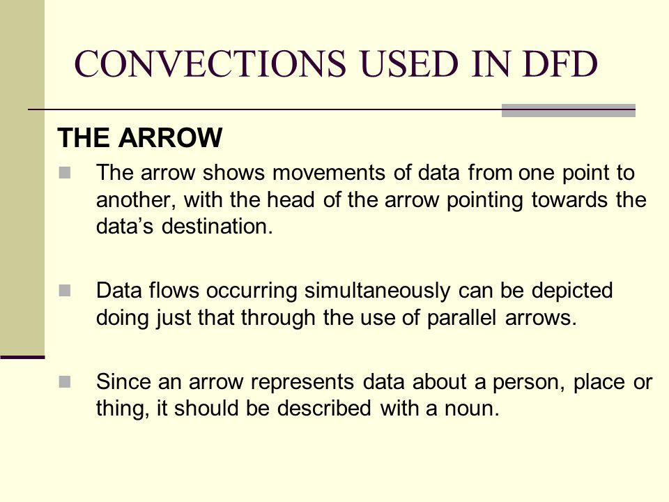 CONVECTIONS USED IN DFD THE ARROW The arrow shows movements of data from one point to another, with the head of the arrow pointing towards the data's