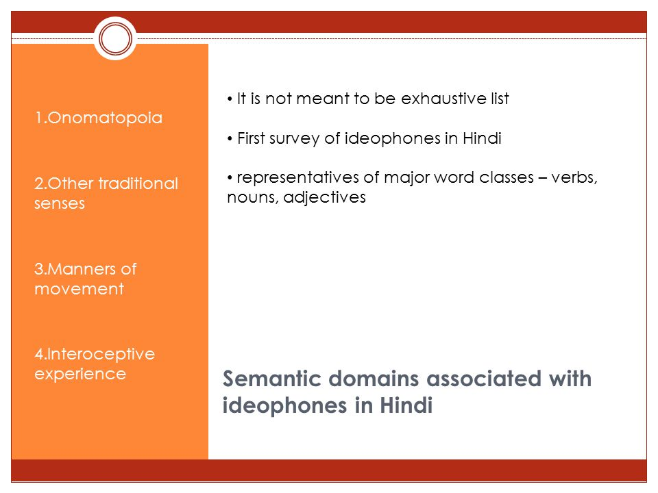 Semantic domains associated with ideophones in Hindi 1.Onomatopoia 2.Other traditional senses 3.Manners of movement 4.Interoceptive experience It is not meant to be exhaustive list First survey of ideophones in Hindi representatives of major word classes – verbs, nouns, adjectives