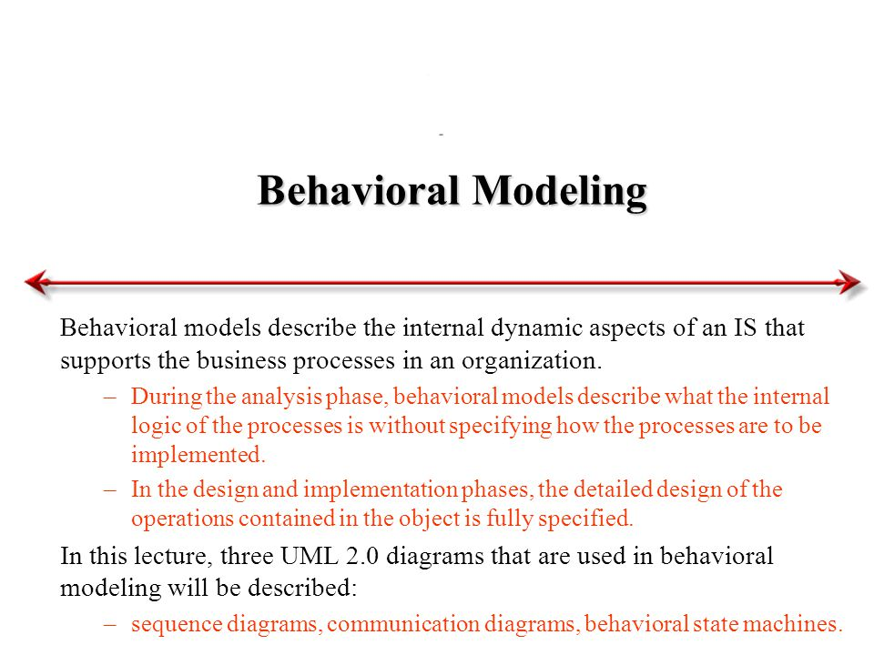 Behavioral Modeling Behavioral models describe the internal dynamic aspects of an IS that supports the business processes in an organization. –During