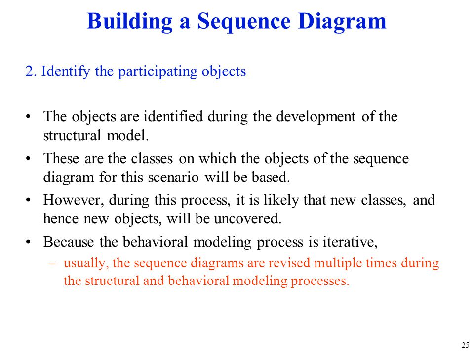 2. Identify the participating objects The objects are identified during the development of the structural model. These are the classes on which the ob