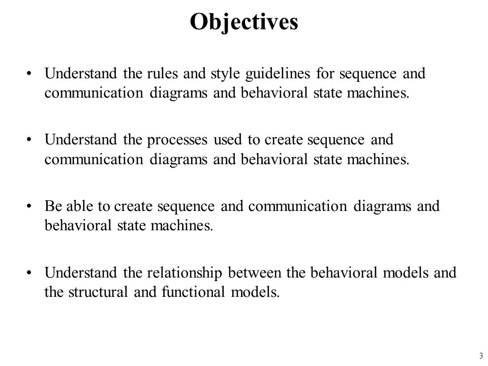 Understand the rules and style guidelines for sequence and communication diagrams and behavioral state machines. Understand the processes used to crea