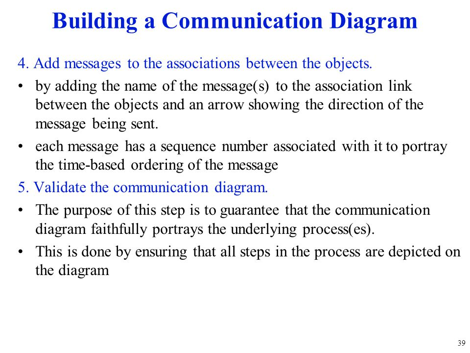 4. Add messages to the associations between the objects. by adding the name of the message(s) to the association link between the objects and an arrow