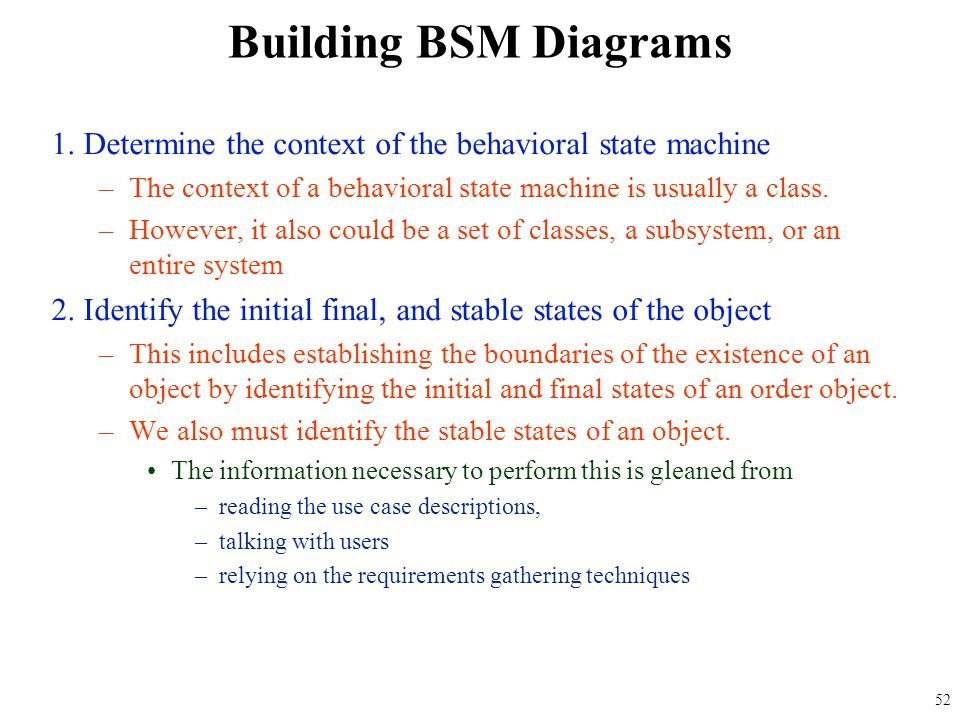 1. Determine the context of the behavioral state machine –The context of a behavioral state machine is usually a class. –However, it also could be a s