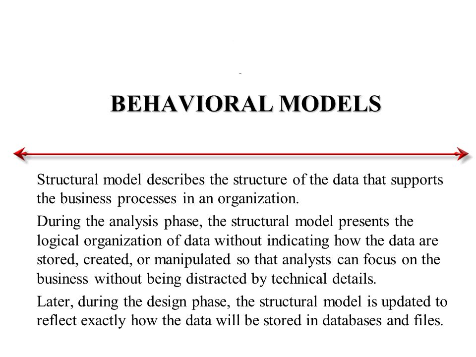 BEHAVIORAL MODELS Structural model describes the structure of the data that supports the business processes in an organization. During the analysis ph