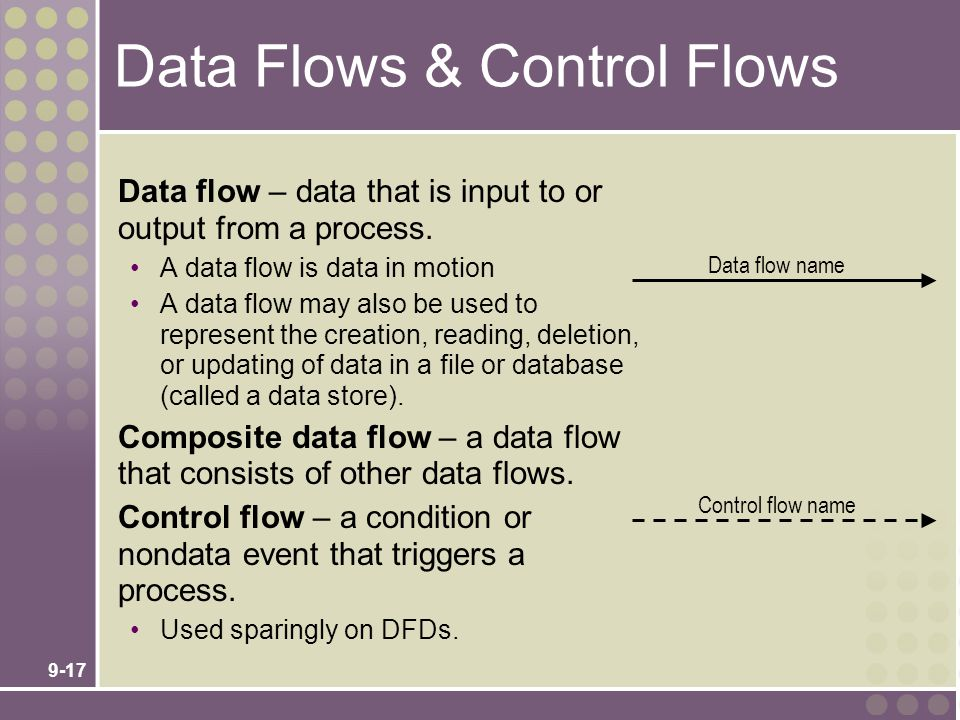 9-17 Data flow – data that is input to or output from a process. A data flow is data in motion A data flow may also be used to represent the creation,