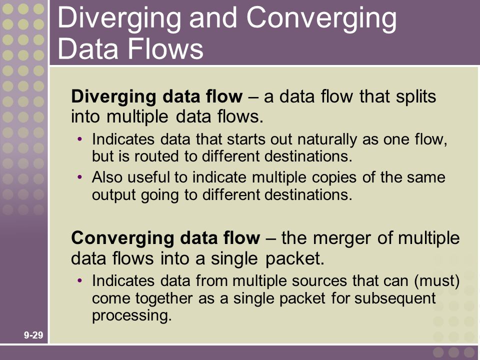9-29 Diverging and Converging Data Flows Diverging data flow – a data flow that splits into multiple data flows. Indicates data that starts out natura