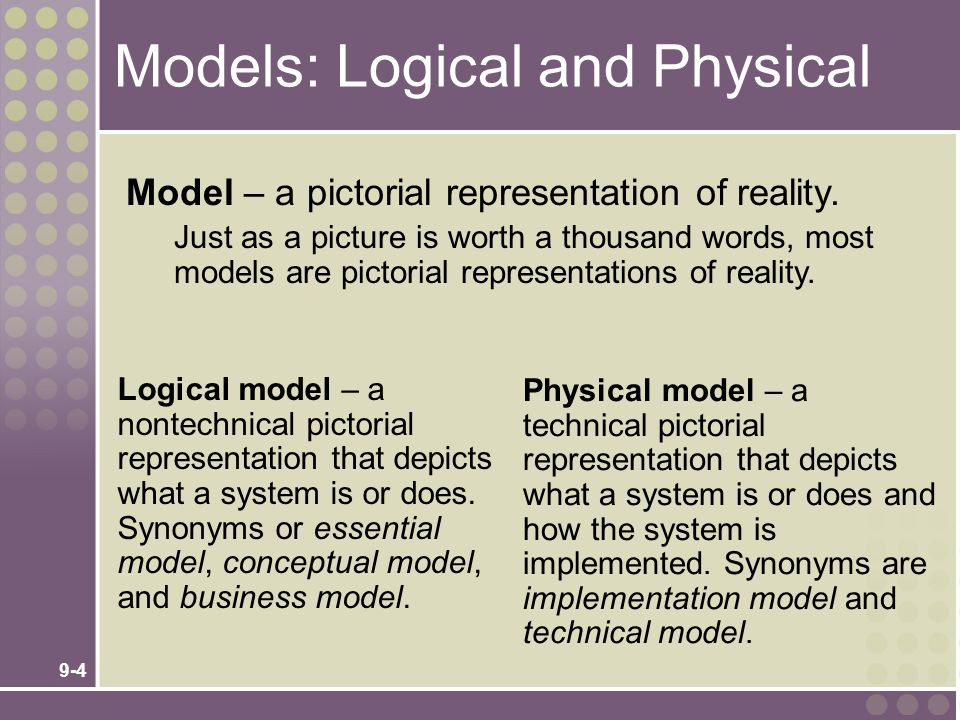 9-4 Models: Logical and Physical Logical model – a nontechnical pictorial representation that depicts what a system is or does. Synonyms or essential