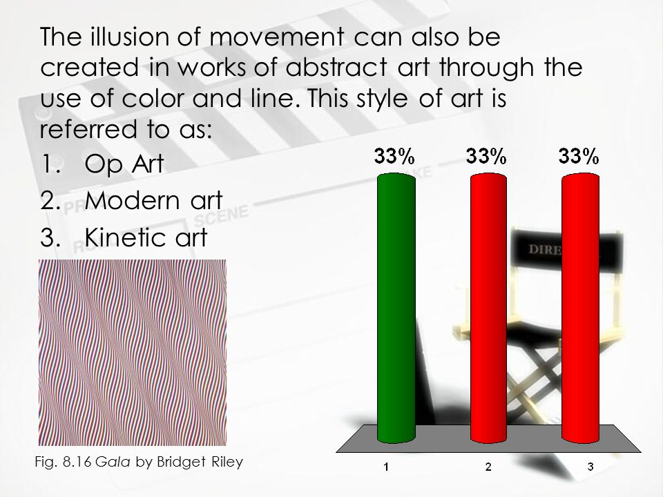 The illusion of movement can also be created in works of abstract art through the use of color and line. This style of art is referred to as: 1.Op Art