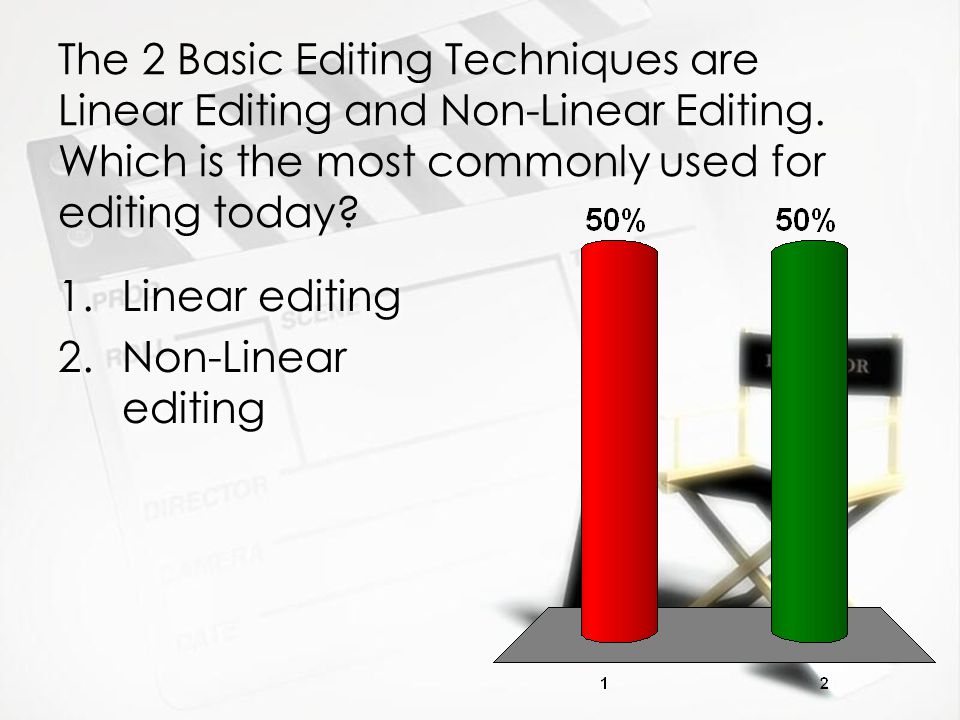 The 2 Basic Editing Techniques are Linear Editing and Non-Linear Editing. Which is the most commonly used for editing today? 1.Linear editing 2.Non-Li
