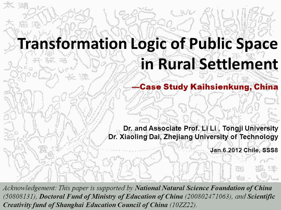 Transformation Logic of Public Space in Rural Settlement Dr.