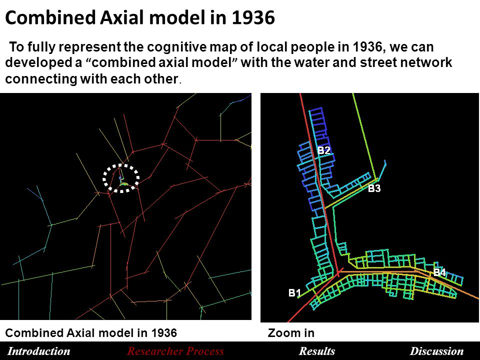 Combined Axial model in 1936 Combined Axial model in 1936 Zoom in To fully represent the cognitive map of local people in 1936, we can developed a combined axial model with the water and street network connecting with each other.