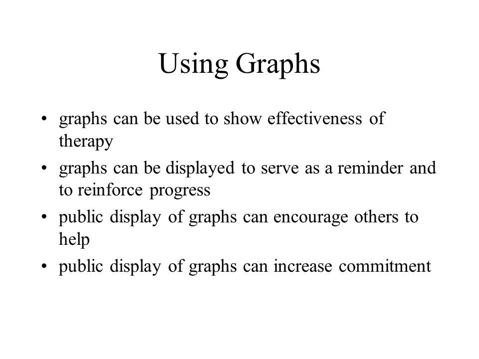 Using Graphs graphs can be used to show effectiveness of therapy graphs can be displayed to serve as a reminder and to reinforce progress public display of graphs can encourage others to help public display of graphs can increase commitment