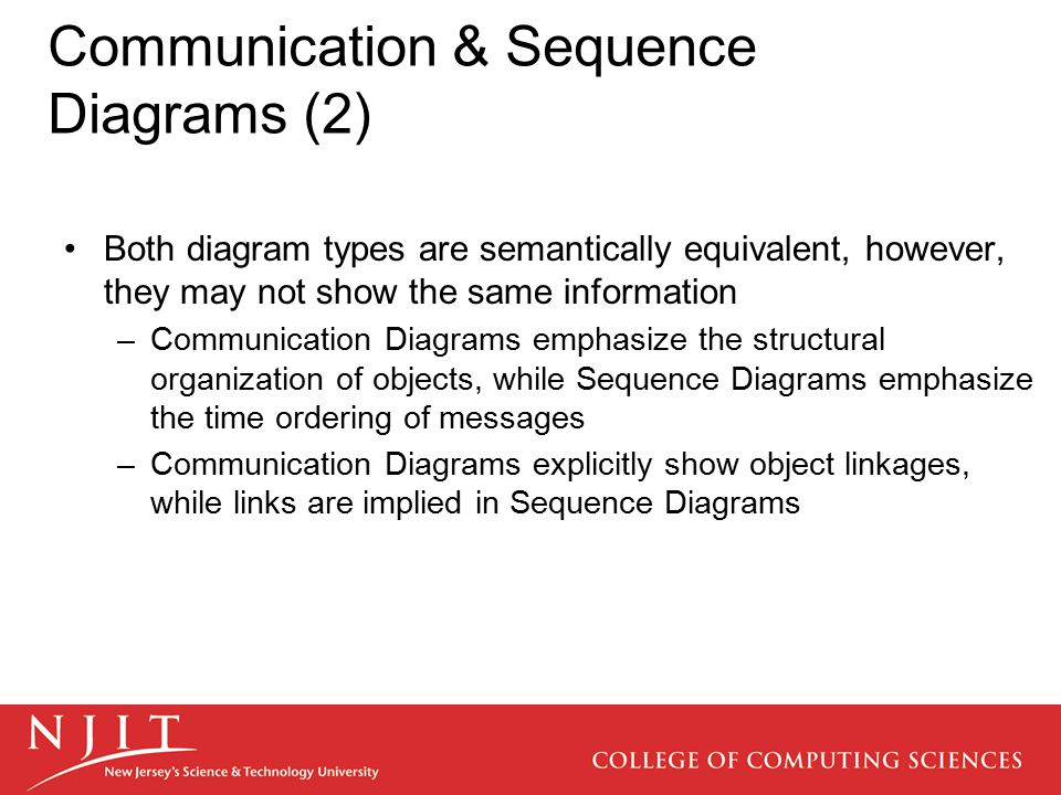 Communication & Sequence Diagrams (2) Both diagram types are semantically equivalent, however, they may not show the same information –Communication Diagrams emphasize the structural organization of objects, while Sequence Diagrams emphasize the time ordering of messages –Communication Diagrams explicitly show object linkages, while links are implied in Sequence Diagrams