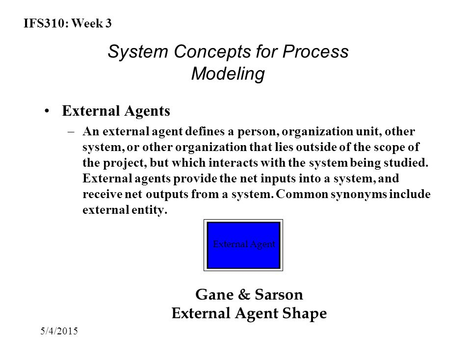 IFS310: Week 3 5/4/2015 External Agents –An external agent defines a person, organization unit, other system, or other organization that lies outside of the scope of the project, but which interacts with the system being studied.