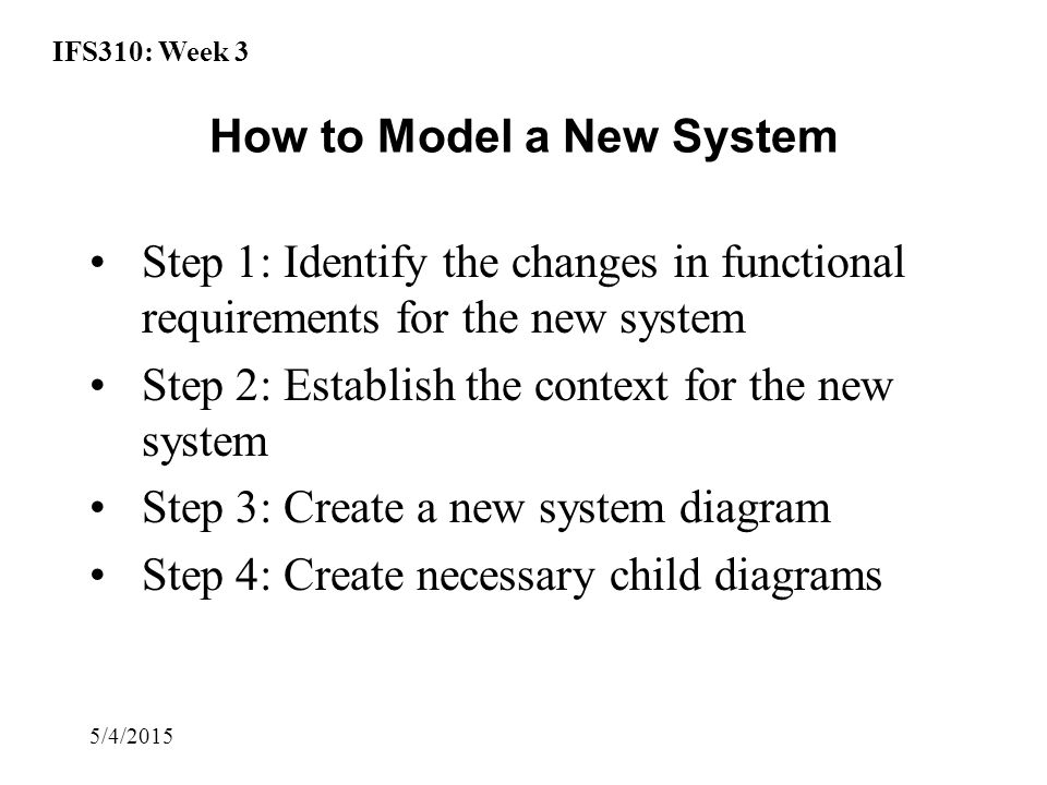 IFS310: Week 3 5/4/2015 How to Model a New System Step 1: Identify the changes in functional requirements for the new system Step 2: Establish the context for the new system Step 3: Create a new system diagram Step 4: Create necessary child diagrams