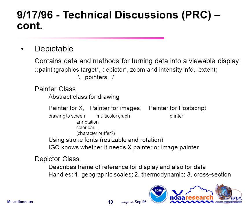 Miscellaneous (original) Sep 96 10 9/17/96 - Technical Discussions (PRC) – cont.