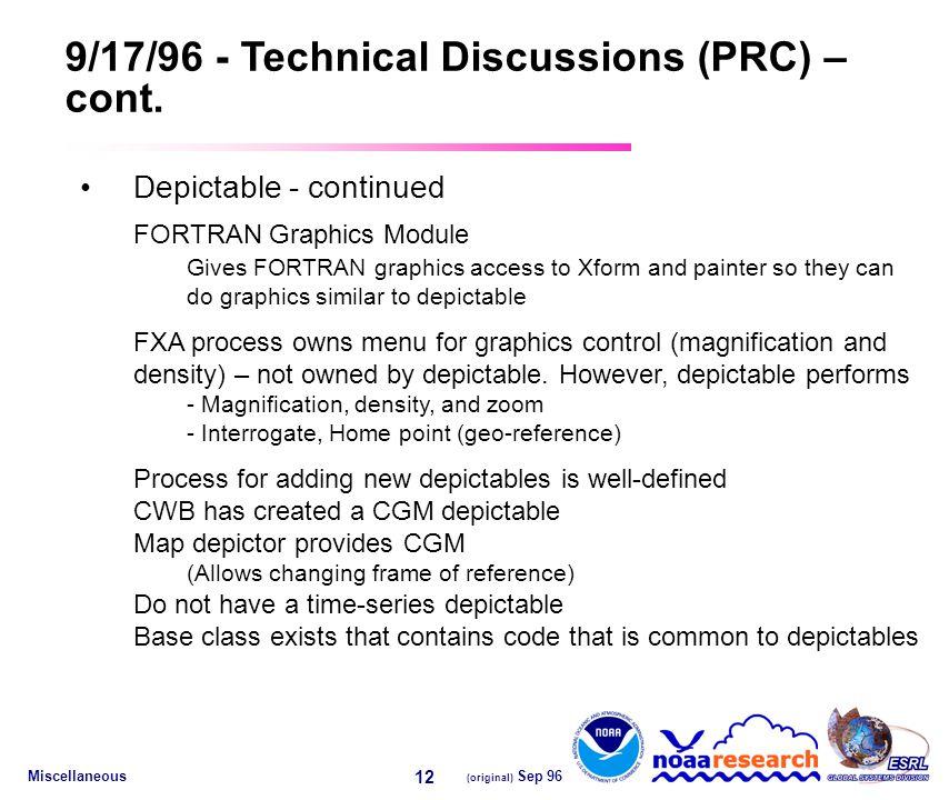 Miscellaneous (original) Sep 96 12 9/17/96 - Technical Discussions (PRC) – cont.