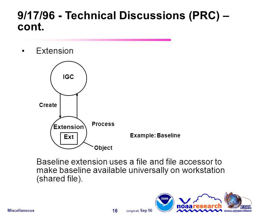 Miscellaneous (original) Sep 96 16 9/17/96 - Technical Discussions (PRC) – cont.