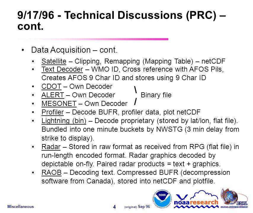 Miscellaneous (original) Sep 96 4 9/17/96 - Technical Discussions (PRC) – cont.