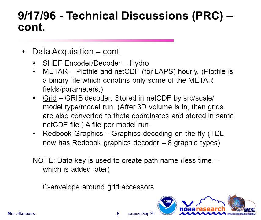 Miscellaneous (original) Sep 96 5 9/17/96 - Technical Discussions (PRC) – cont.