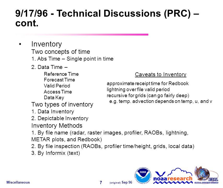 Miscellaneous (original) Sep 96 7 9/17/96 - Technical Discussions (PRC) – cont.