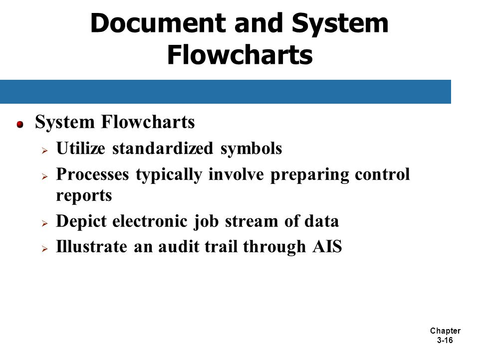 Chapter 3-16 Document and System Flowcharts System Flowcharts  Utilize standardized symbols  Processes typically involve preparing control reports 