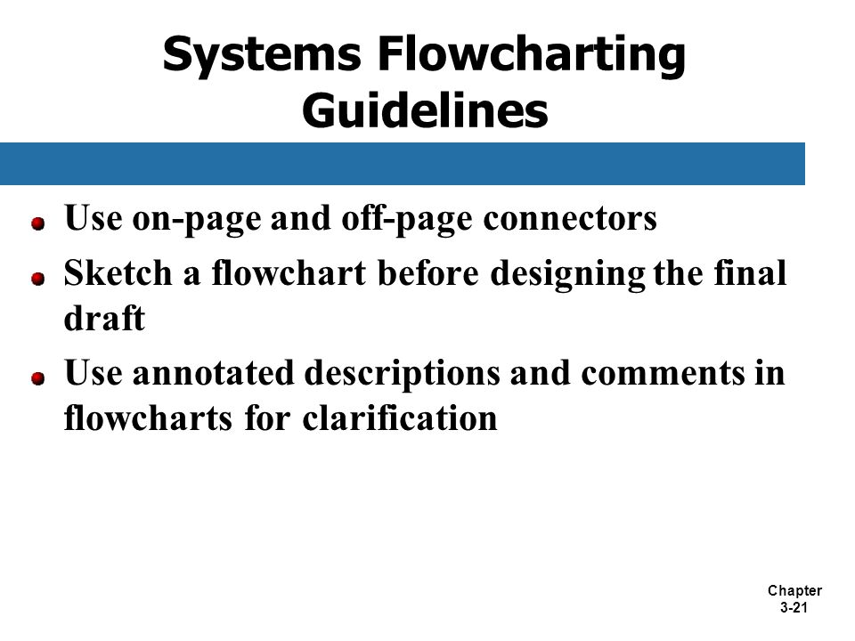Chapter 3-21 Use on-page and off-page connectors Sketch a flowchart before designing the final draft Use annotated descriptions and comments in flowch