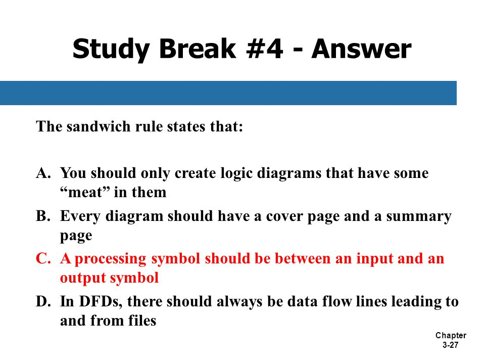 """Chapter 3-27 The sandwich rule states that: A.You should only create logic diagrams that have some """"meat"""" in them B.Every diagram should have a cover"""
