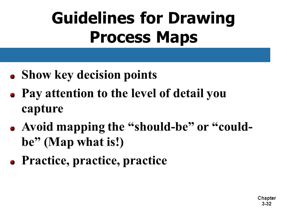 """Chapter 3-32 Show key decision points Pay attention to the level of detail you capture Avoid mapping the """"should-be"""" or """"could- be"""" (Map what is!) Pra"""